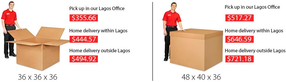 box size and cost atlanta shiptonaija